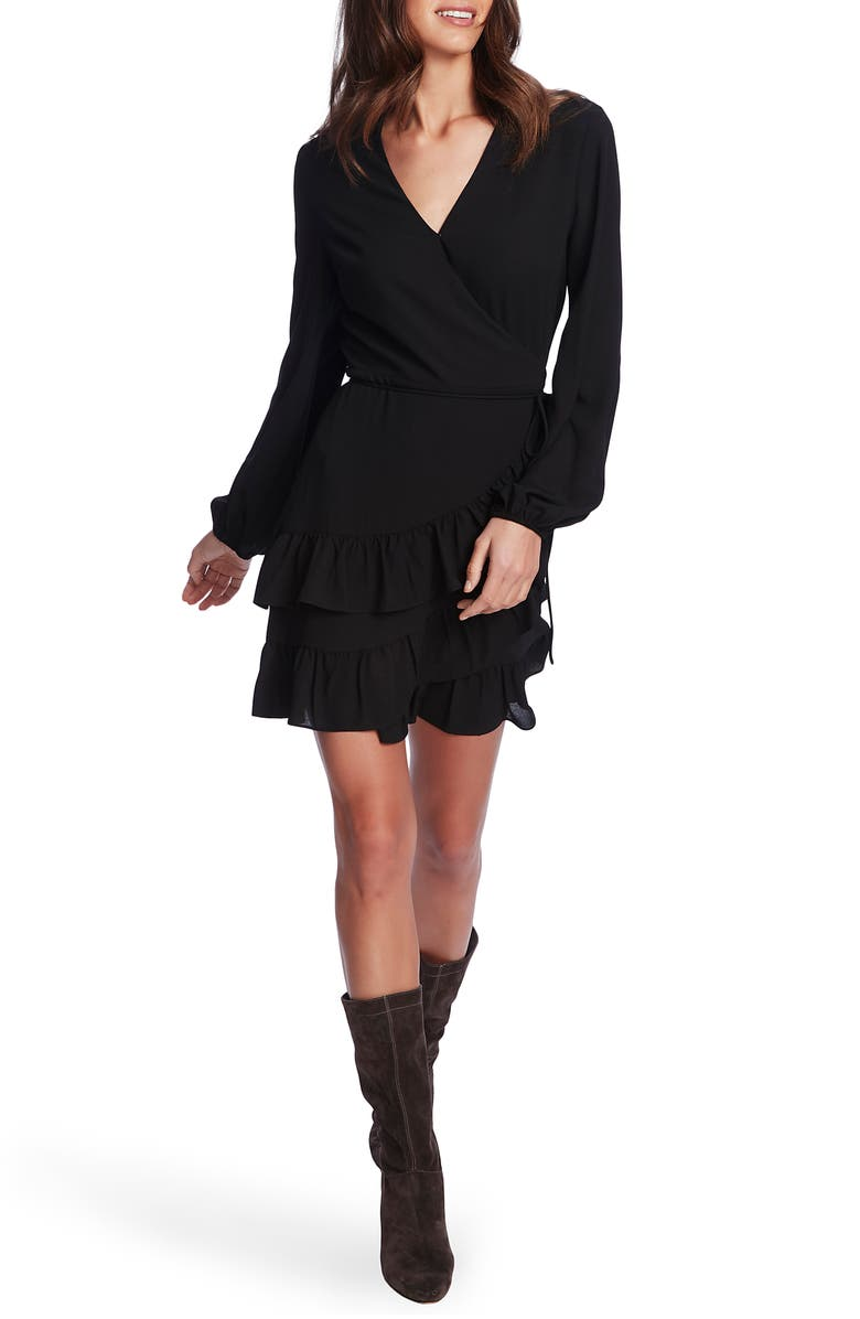 1.STATE Wrap Front Tiered Ruffle Long Sleeve Dress, Main, color, RICH BLACK