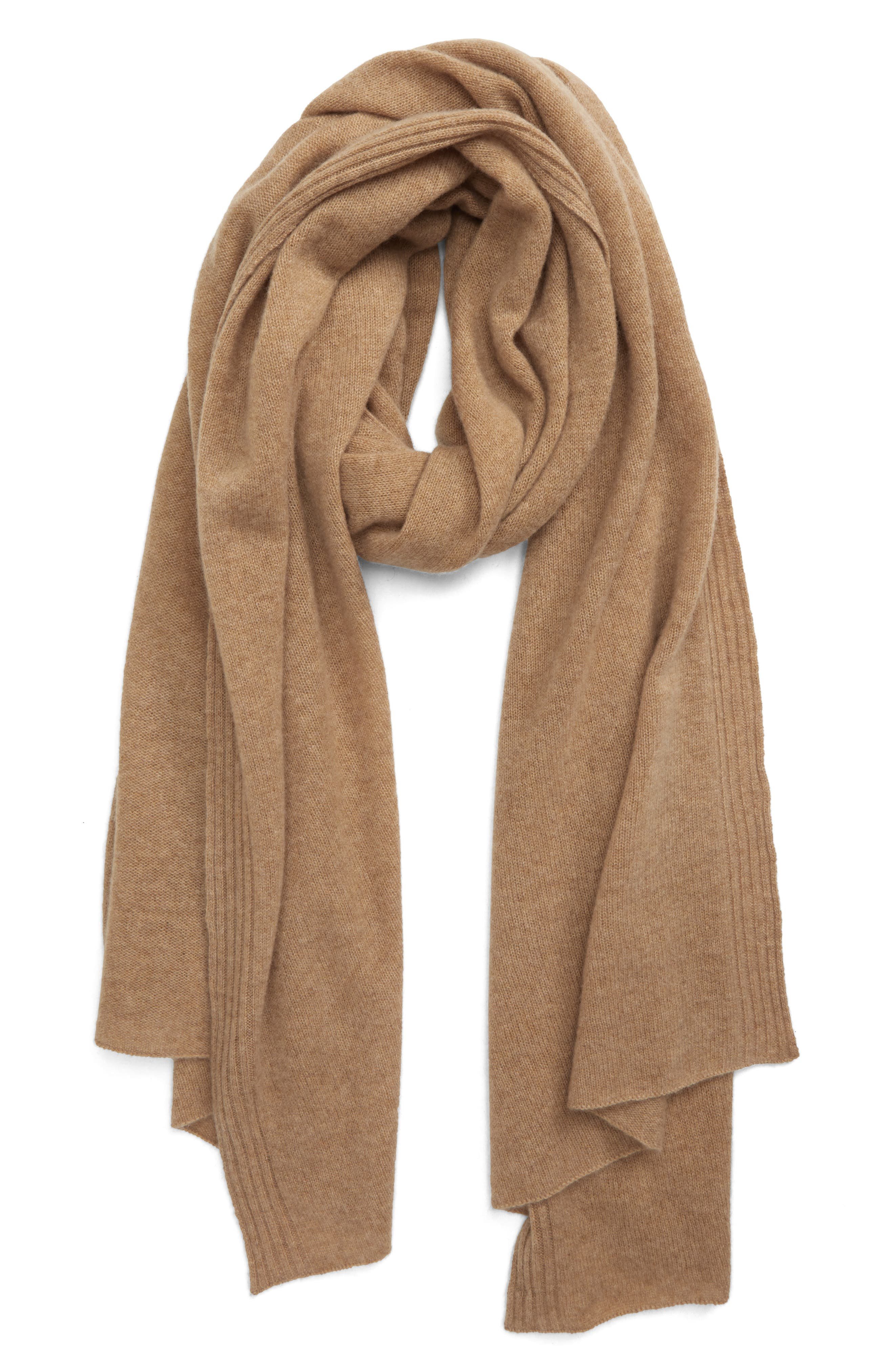 Ribbing trims the long edges of this luxe cashmere scarf, enhancing the rich look with a sophisticated textural accent. Style Name: Halogen Cashmere Scarf. Style Number: 6018088. Available in stores.