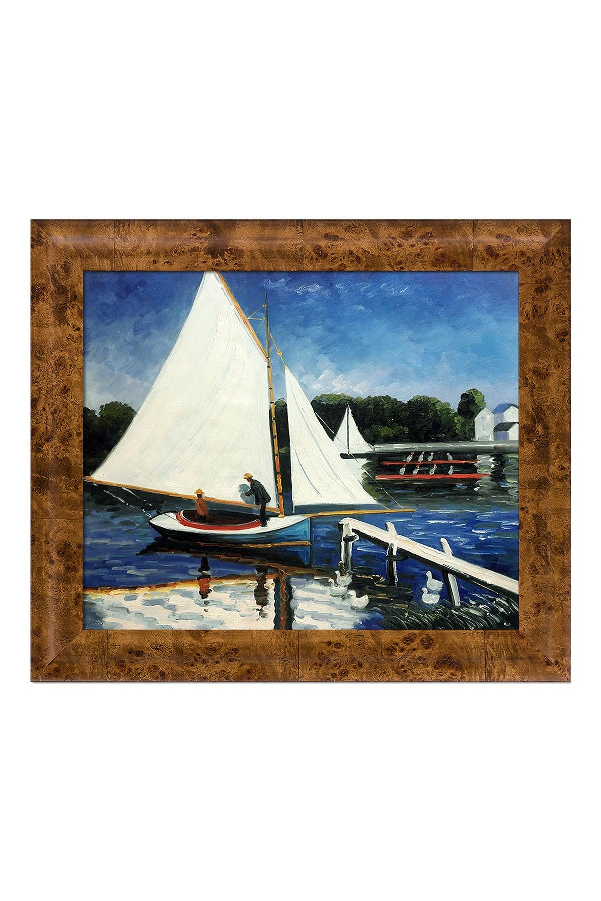 """Image of Overstock Art Sailing at Argenteuil with Havana Burl Frame , 25.75"""" x 29.75"""""""