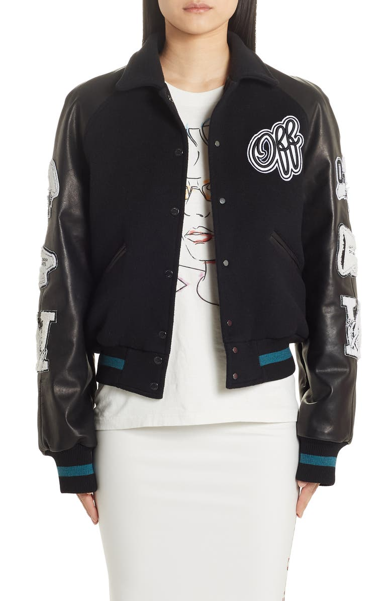 OFF-WHITE Vintage College Varsity Bomber Jacket, Main, color, BLACK WHITE