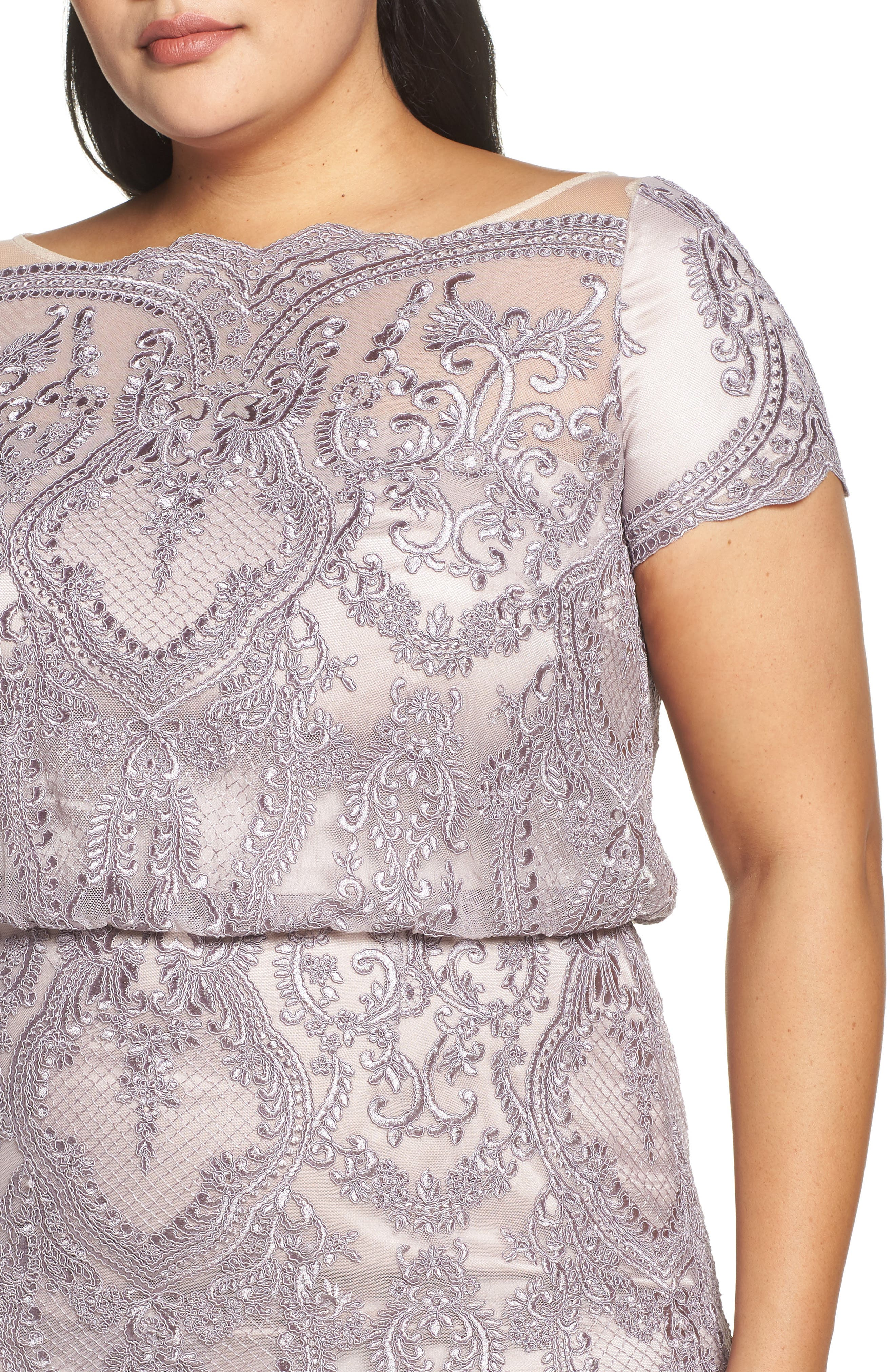 ,                             Scallop Embroidered Blouson Evening Dress,                             Alternate thumbnail 5, color,                             DUSTY LAVENDER