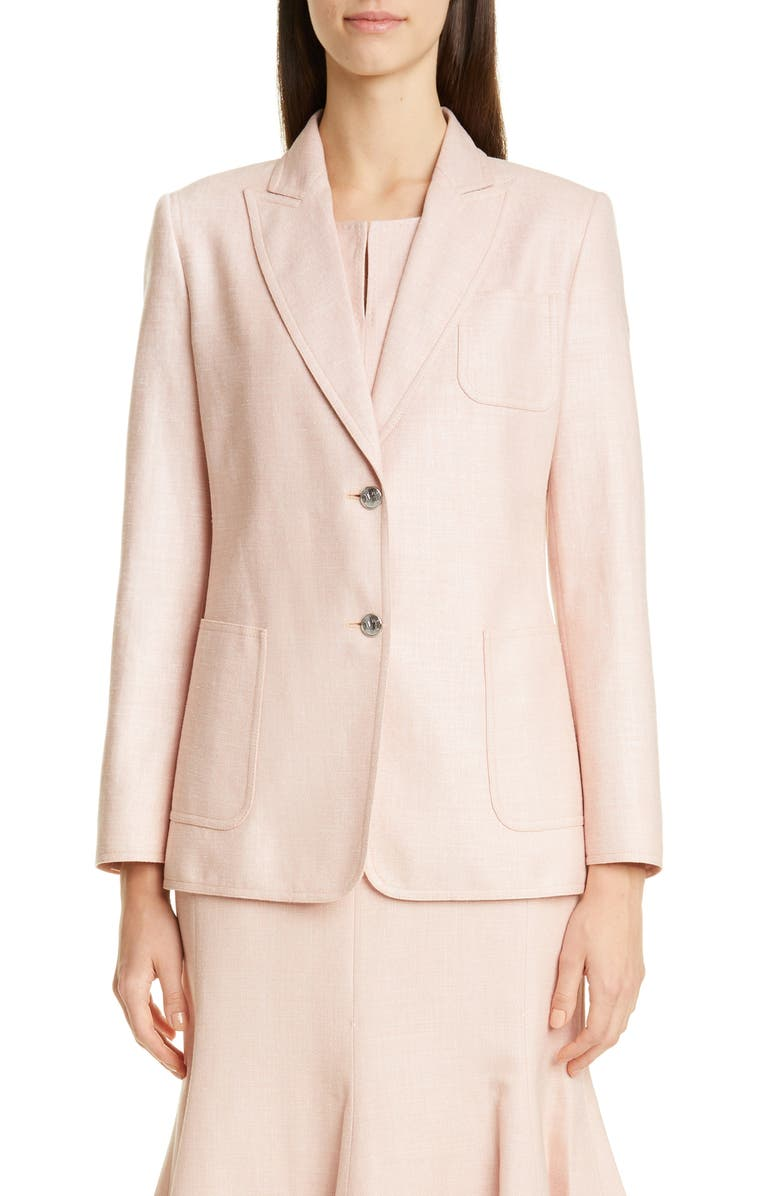 MAX MARA Mela Silk, Linen & Wool Jacket, Main, color, PINK