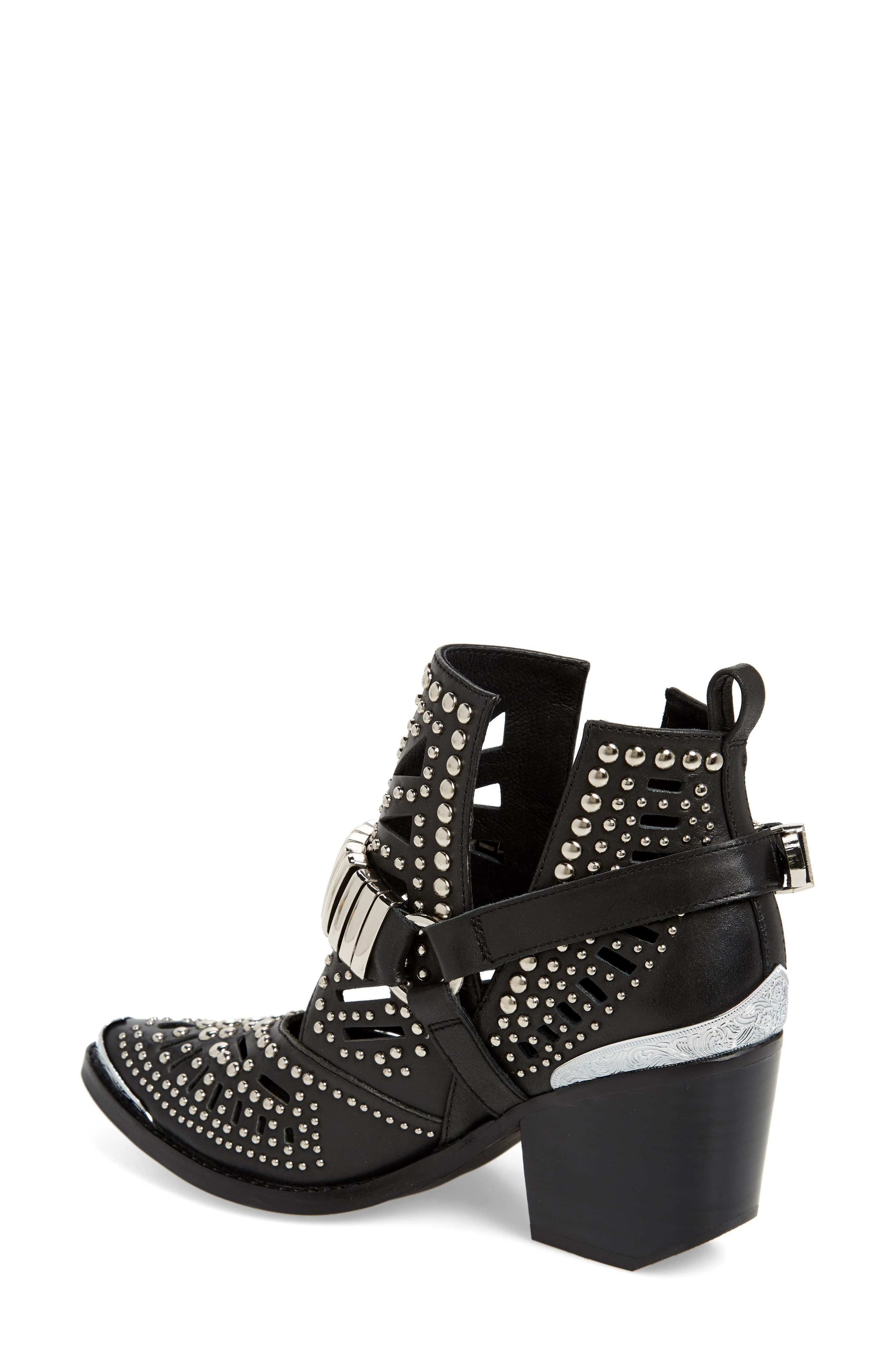 ,                             Wylie Studded Western Bootie,                             Alternate thumbnail 2, color,                             BLACK/ SILVER LEATHER