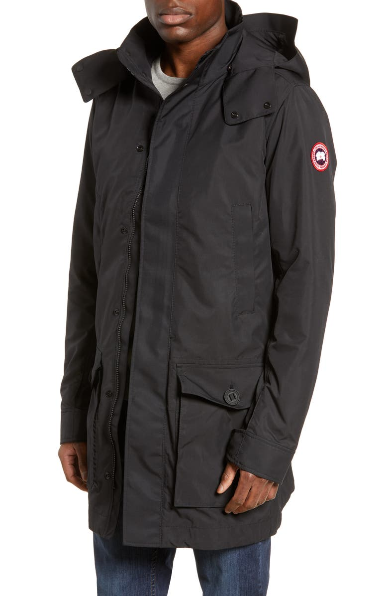 CANADA GOOSE Crew Trench Jacket with Removable Hood, Main, color, BLACK