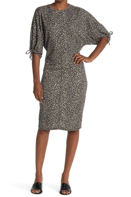 Image of Velvet Torch Balloon Sleeve Midi Dress