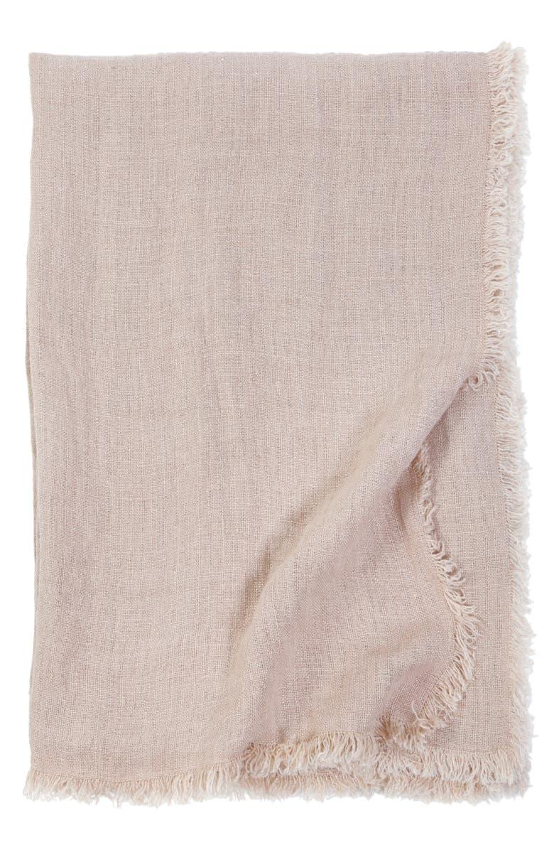 POM POM AT HOME Laurel Oversized Linen Throw Blanket, Main, color, BLUSH