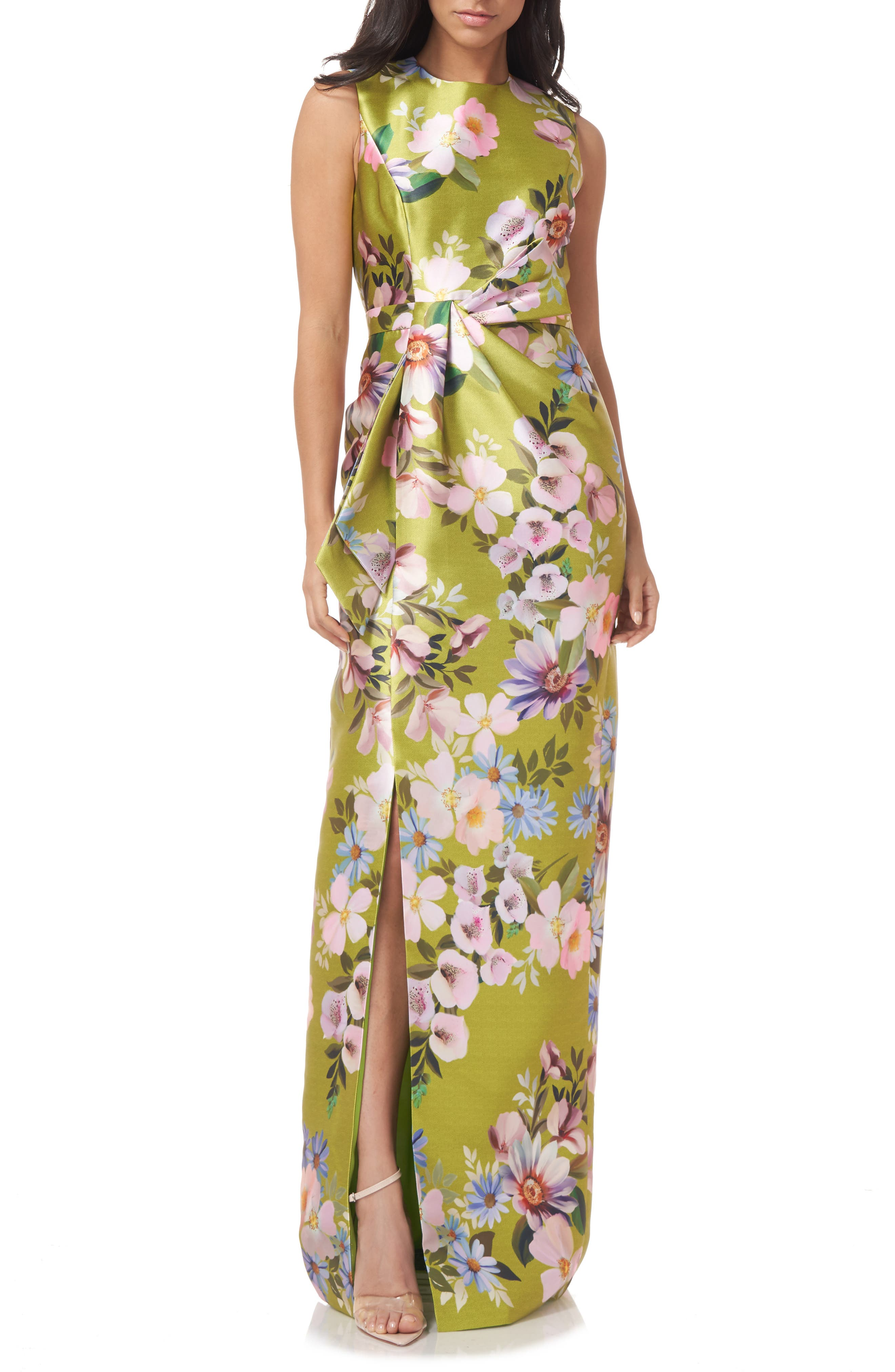 Reese Floral Side Bow Sheath Gown