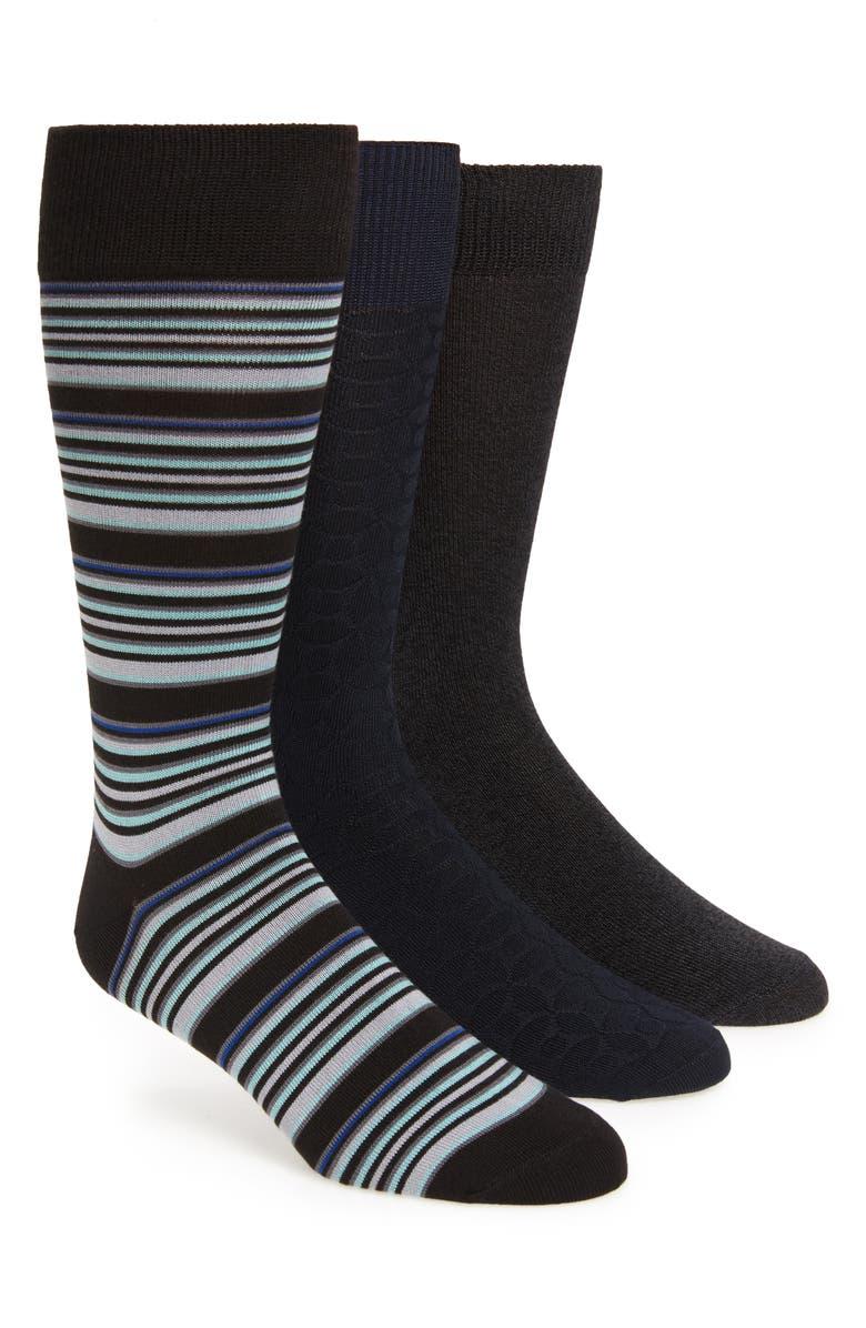 NORDSTROM MEN'S SHOP Ultrasoft Assorted 3-Pack Socks, Main, color, BLACK/ NAVY