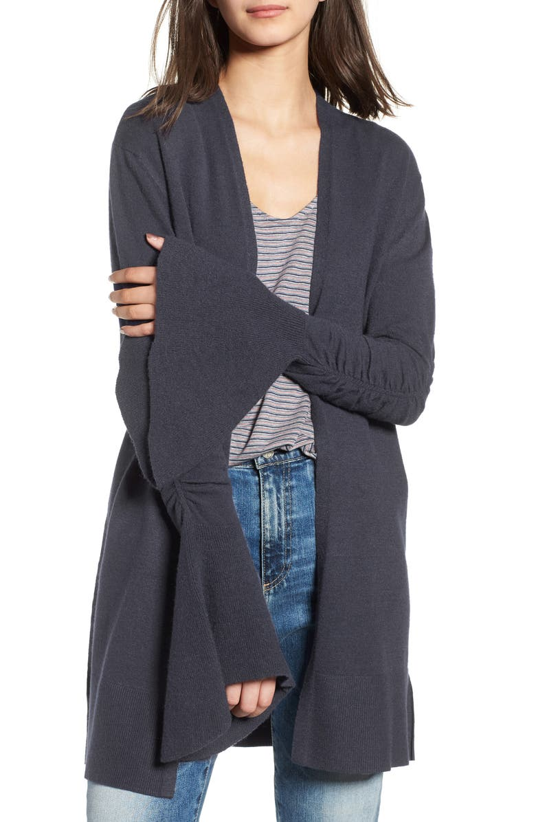 HINGE Ruched Bell Sleeve Cardigan, Main, color, 412