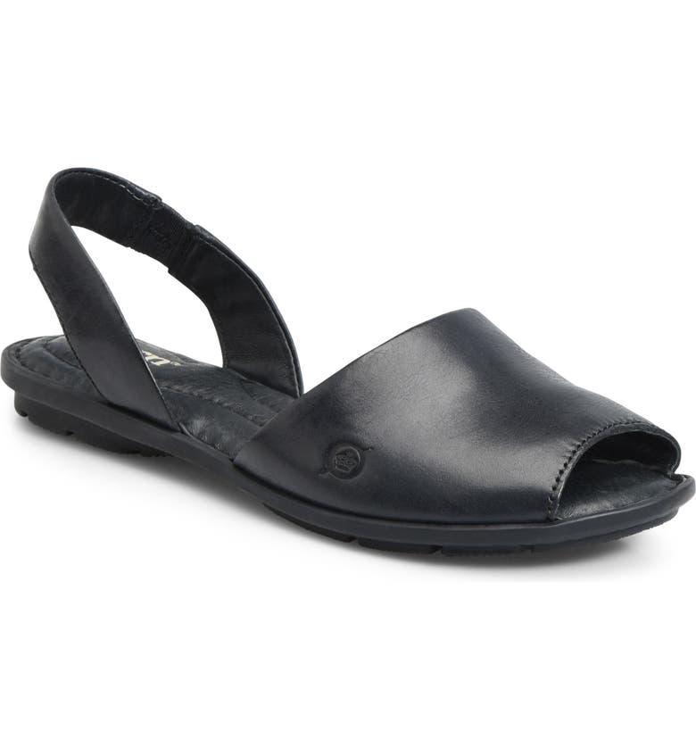 BØRN Trang Sandal, Main, color, BLACK LEATHER