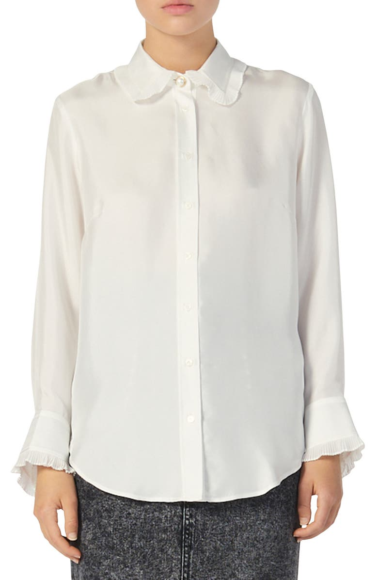 SANDRO Taina Ruffle Trim Long Sleeve Silk Blouse, Main, color, ECRU