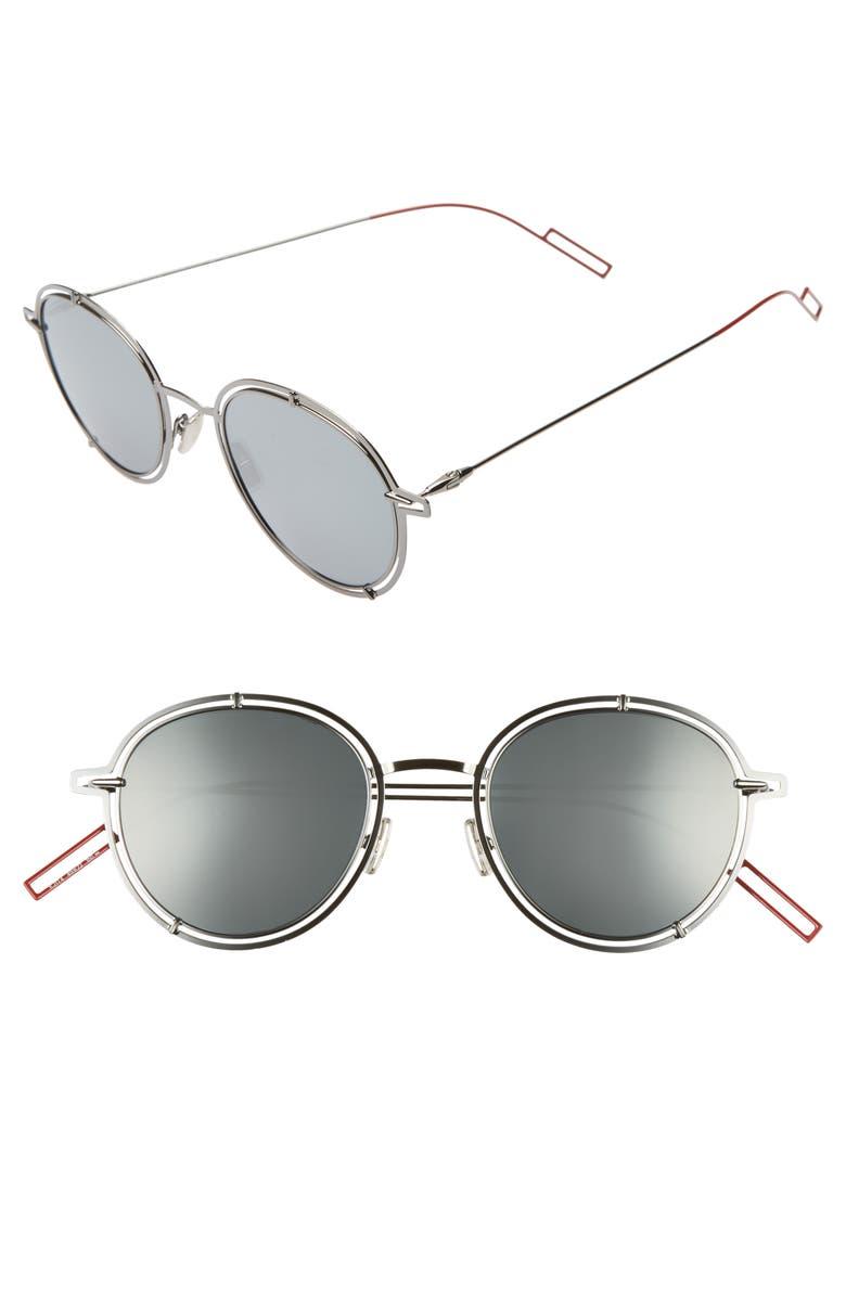 DIOR 49mm Round Sunglasses, Main, color, DARK RUTHENIUM/SILVER MIRROR