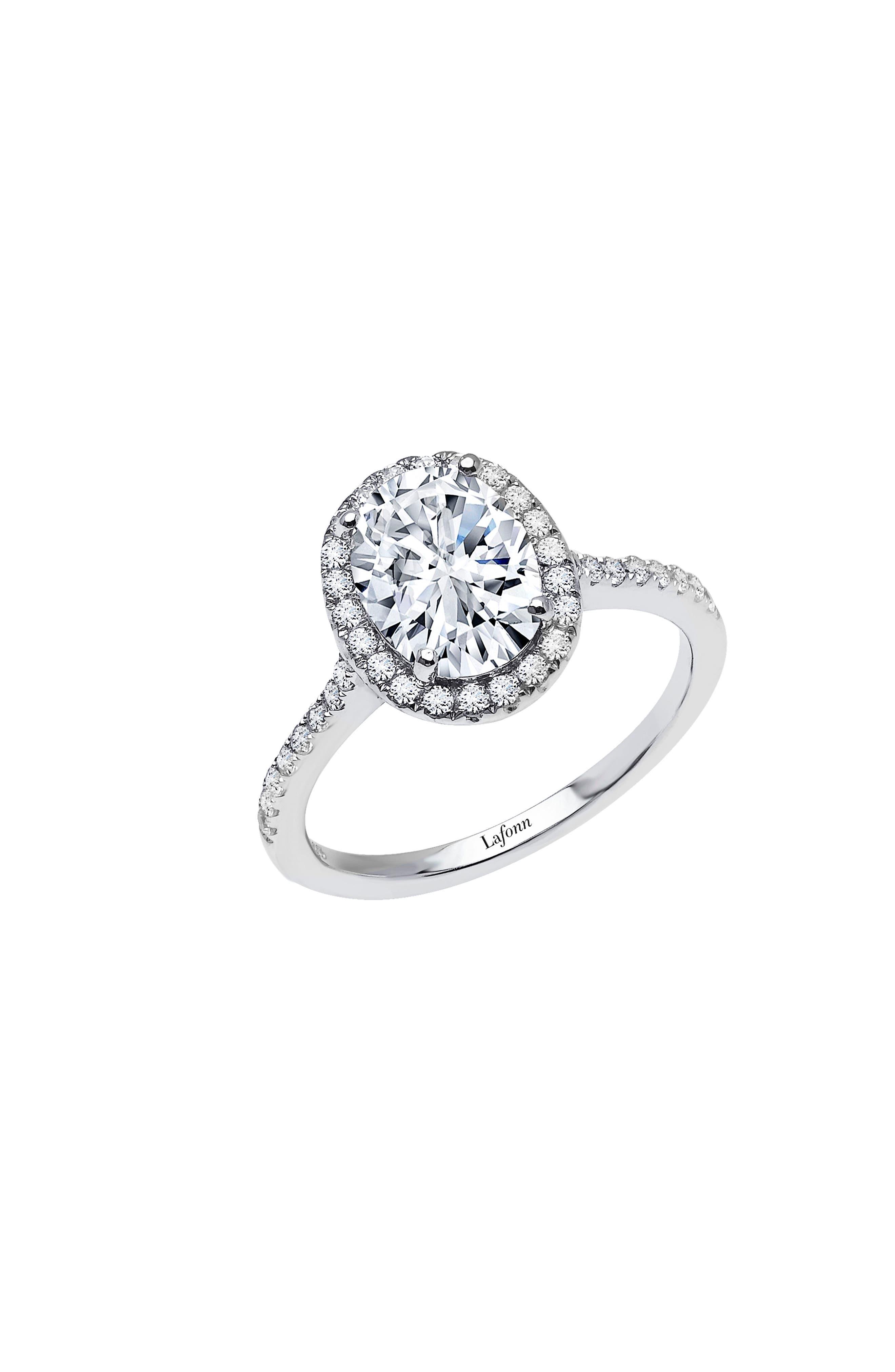 Oval Simulated Diamond Halo Ring