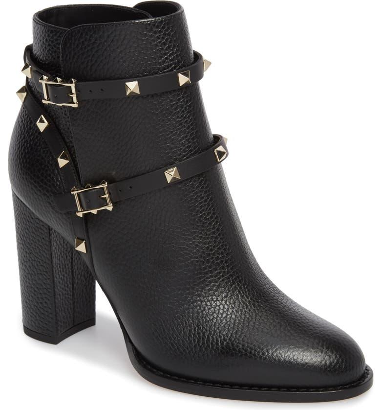 VALENTINO GARAVANI 'Rockstud' Block Heel Bootie, Main, color, BLACK