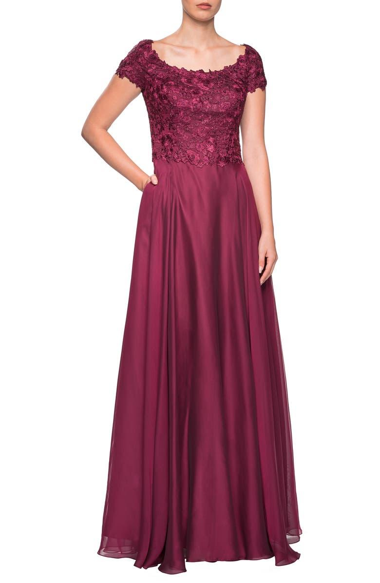 LA FEMME Embellished Lace & Chiffon Gown, Main, color, GARNET