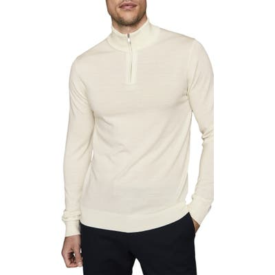 Reiss Blackhall Wool Quarter Zip Pullover, White