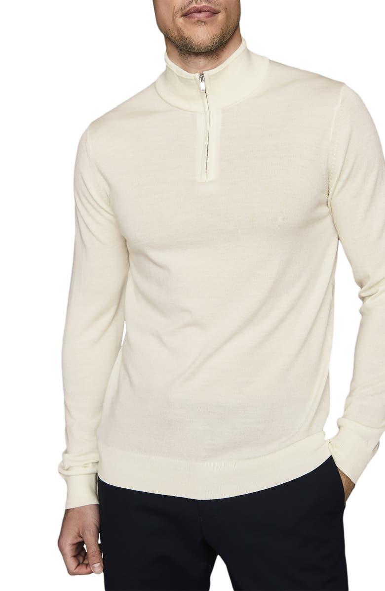 REISS Blackhall Wool Quarter Zip Pullover, Main, color, WHITE