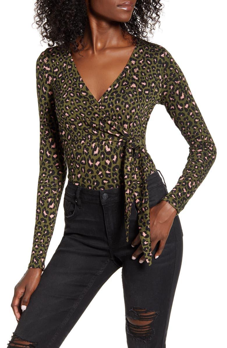 BP. Long Sleeve Faux Wrap Bodysuit, Main, color, GREEN PASTURES LEOPARD