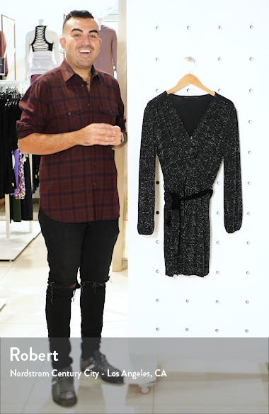 Glitter Faux Wrap Front Long Sleeve Dress, sales video thumbnail