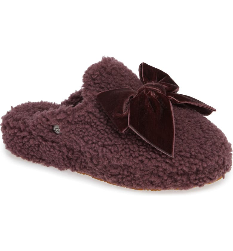 4dd9e0319de Addison Velvet Bow Genuine Shearling Slipper