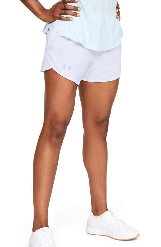Under Armour Fly By 2.0 Woven Running Shorts In White / White / Reflective