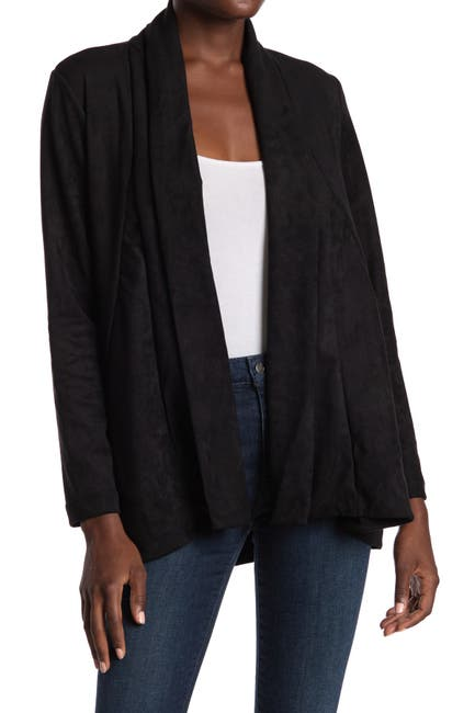 Image of Liverpool Jeans Co Faux Suede Drape Front Cardigan