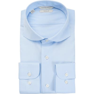 Suitsupply Traveler Slim Fit Blue Button-Up Dress Shirt - Blue