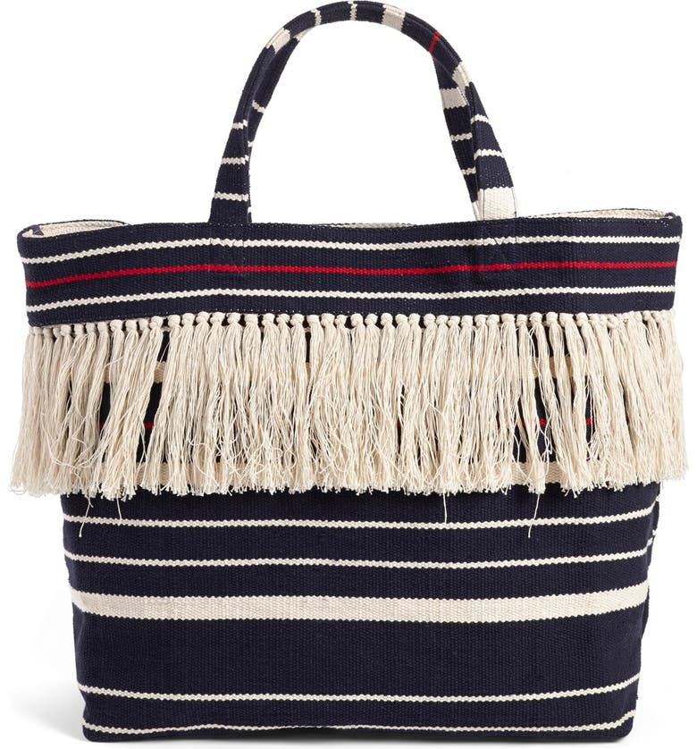 MADEWELL Woven Fringe Beach Tote, Main, color, DEEP NAVY
