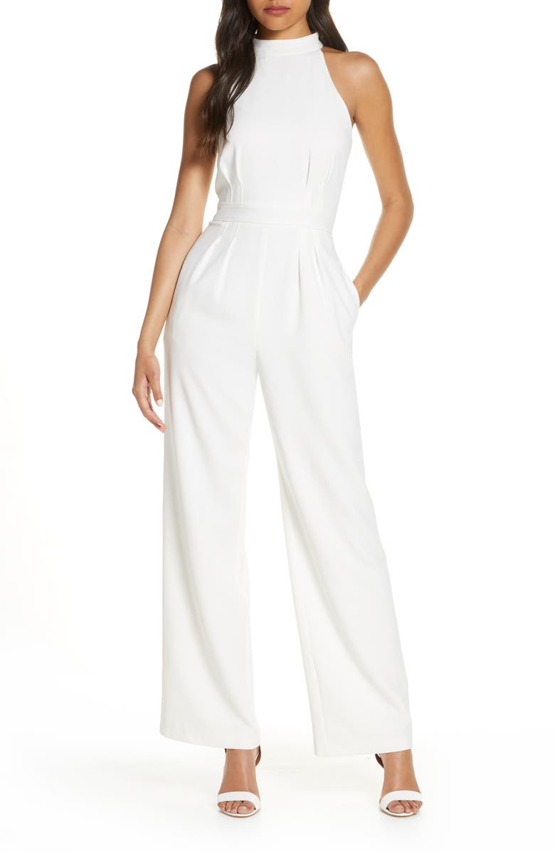VINCE CAMUTO Halter Neck Crepe Jumpsuit, Main, color, IVORY