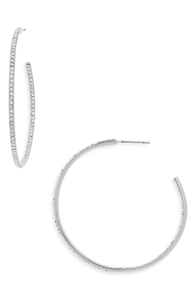 NORDSTROM Medium Seamless Pavé Hoop Earrings, Main, color, CLEAR- SILVER