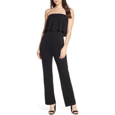 Fraiche By J Ruffle Detail Strapless Jumpsuit, Black