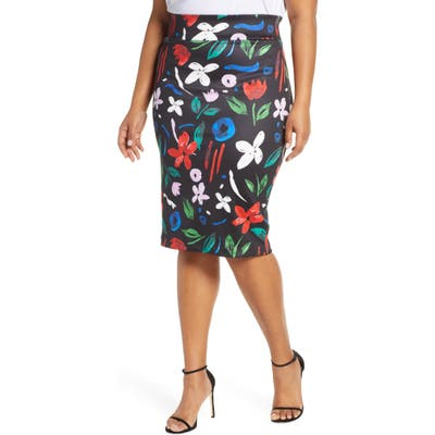 Plus Size Eloquii Floral Neoprene Pencil Skirt, Black