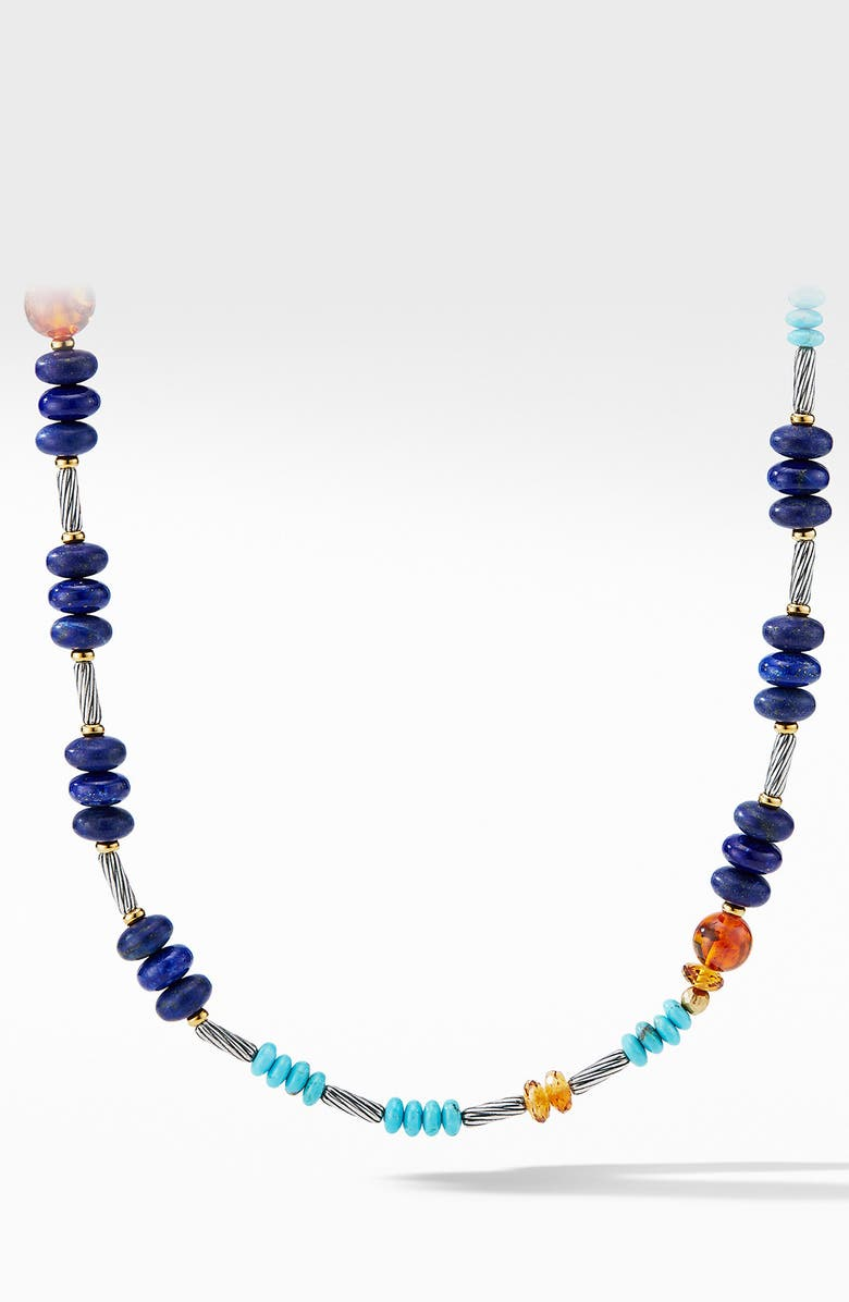 DAVID YURMAN Cable Stick Signature Bead Necklace with Lapis and 18K Yellow Gold, Main, color, LAPIS LAZULI