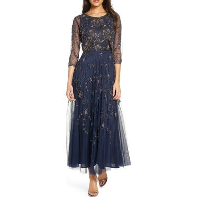 Pisarro Nights Beaded Mesh Gown With Jacket, Blue