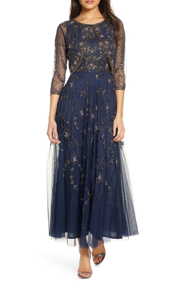 PISARRO NIGHTS Beaded Mesh Gown with Jacket, Main, color, NAVY