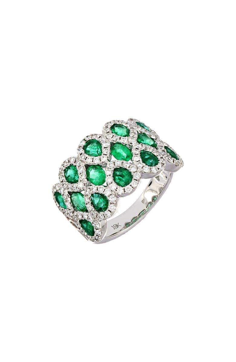 BONY LEVY Emerald & Diamond Ring, Main, color, WHITE GOLD/ EMERALD
