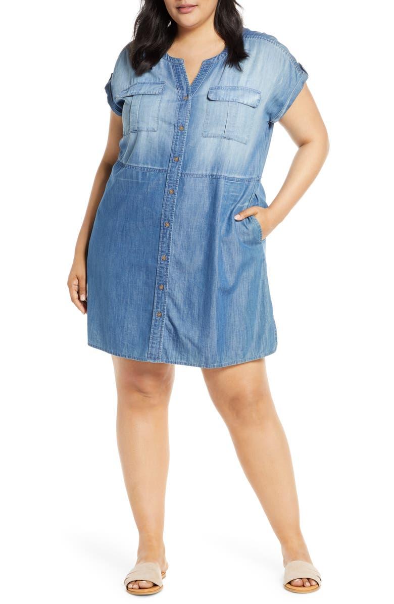 CASLON<SUP>®</SUP> Utility Dress, Main, color, CHAMBRAY