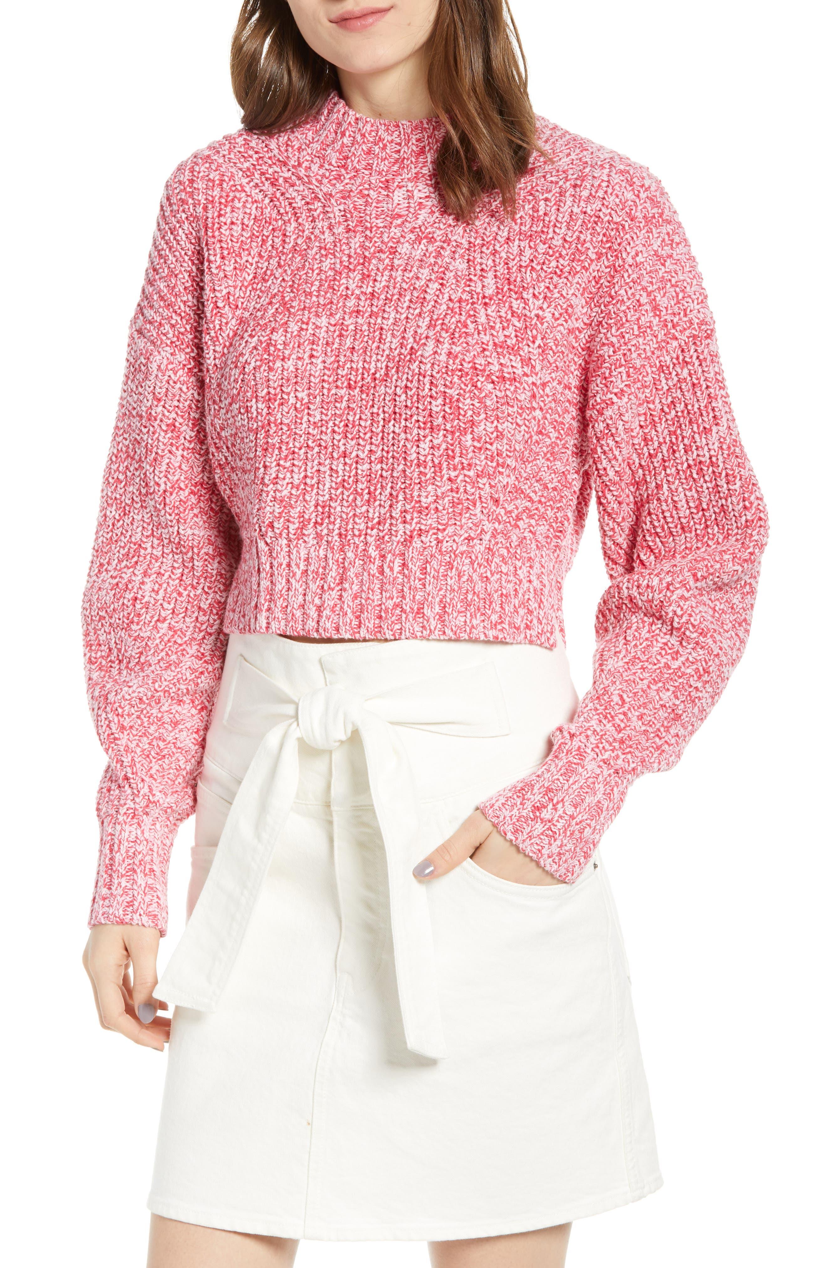 Blouson Sleeve Sweater, Main, color, PINK MELANGE