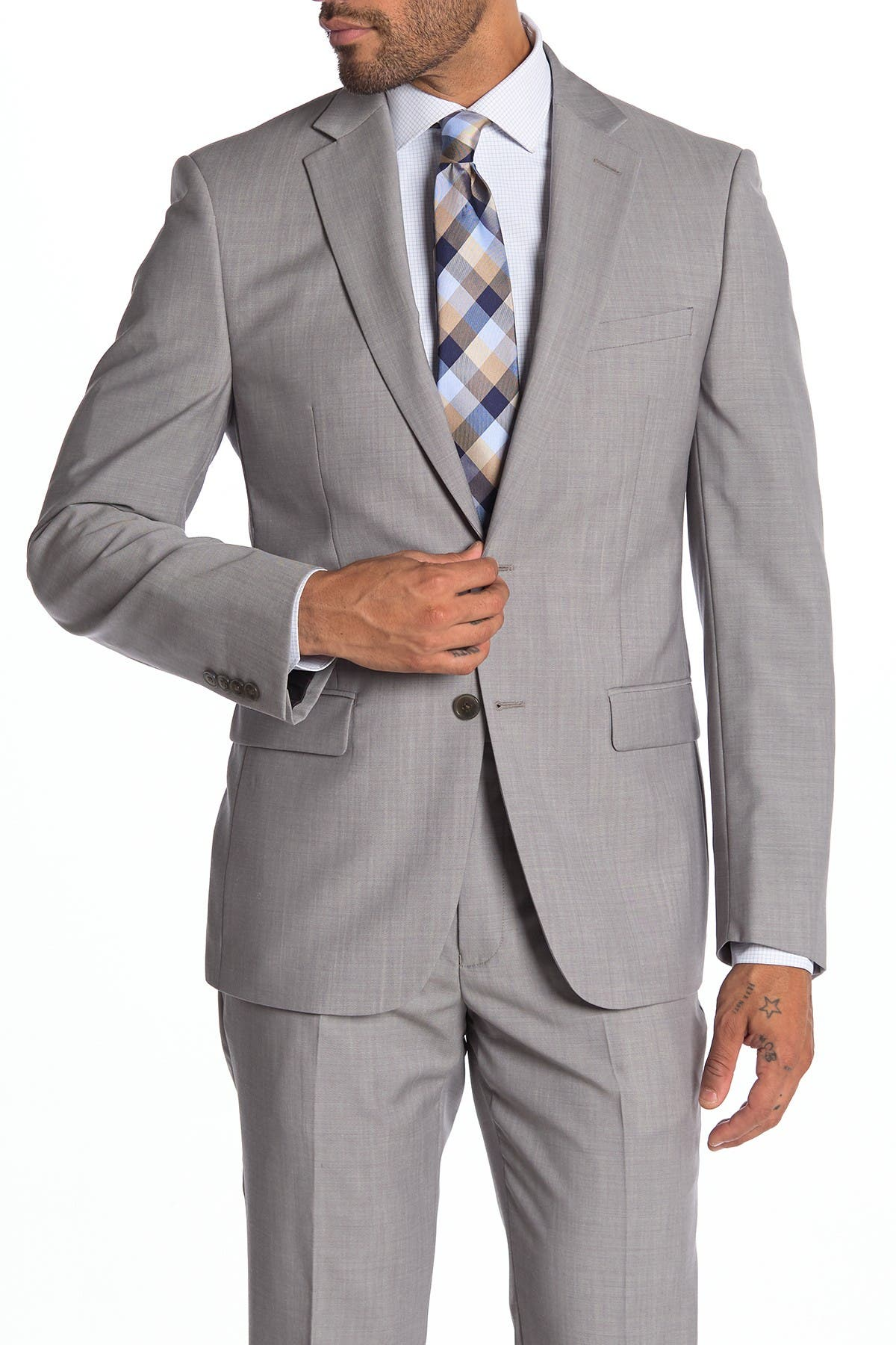 Image of Calvin Klein Malbin Two Button Notch Collar Slim Fit Wool Suit Separates Jacket