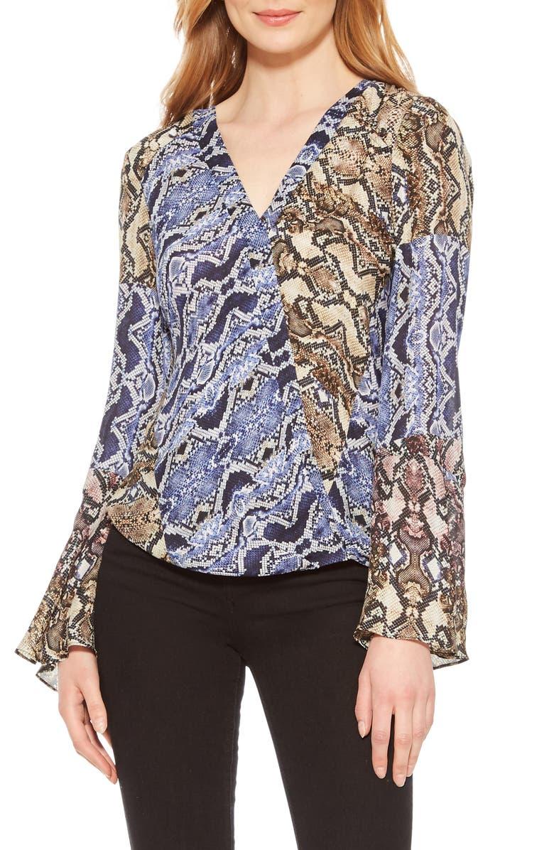 PARKER Ximena Python Print Silk Georgette Blouse, Main, color, 400