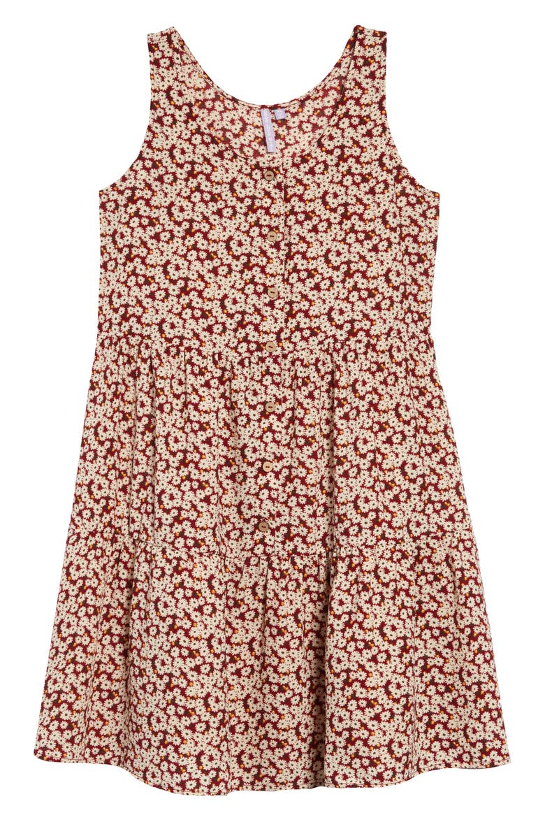 GOOD LUCK GIRL Floral Print Dress, Main, color, SPICE RED