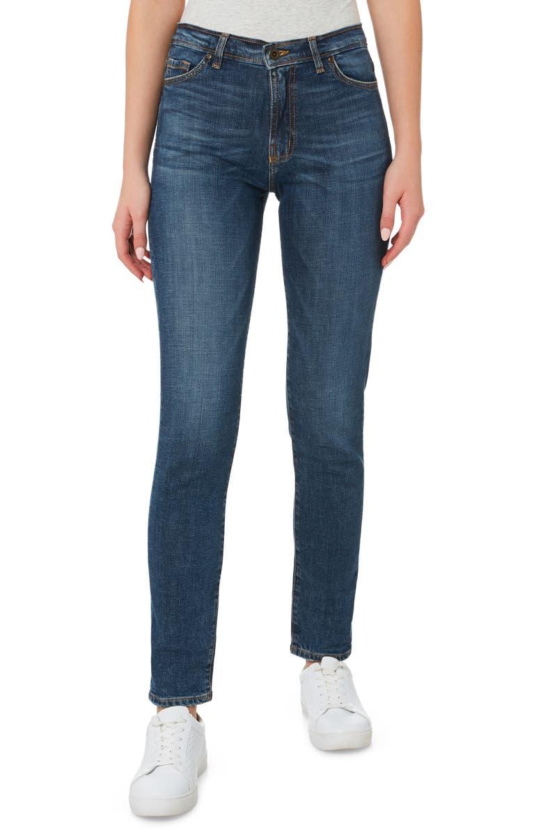 OUTLAND DENIM Lucy Organic Stretch Cotton Skinny Jeans, Main, color, TRUE BLUE