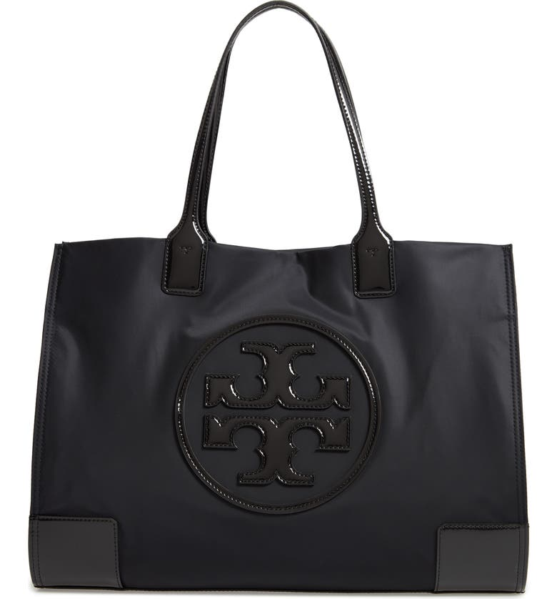TORY BURCH Ella Patent Nylon Tote, Main, color, BLACK