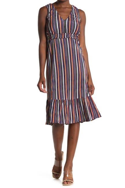 Image of SUPERFOXX Striped Sleeveless Ruffled Midi Dress