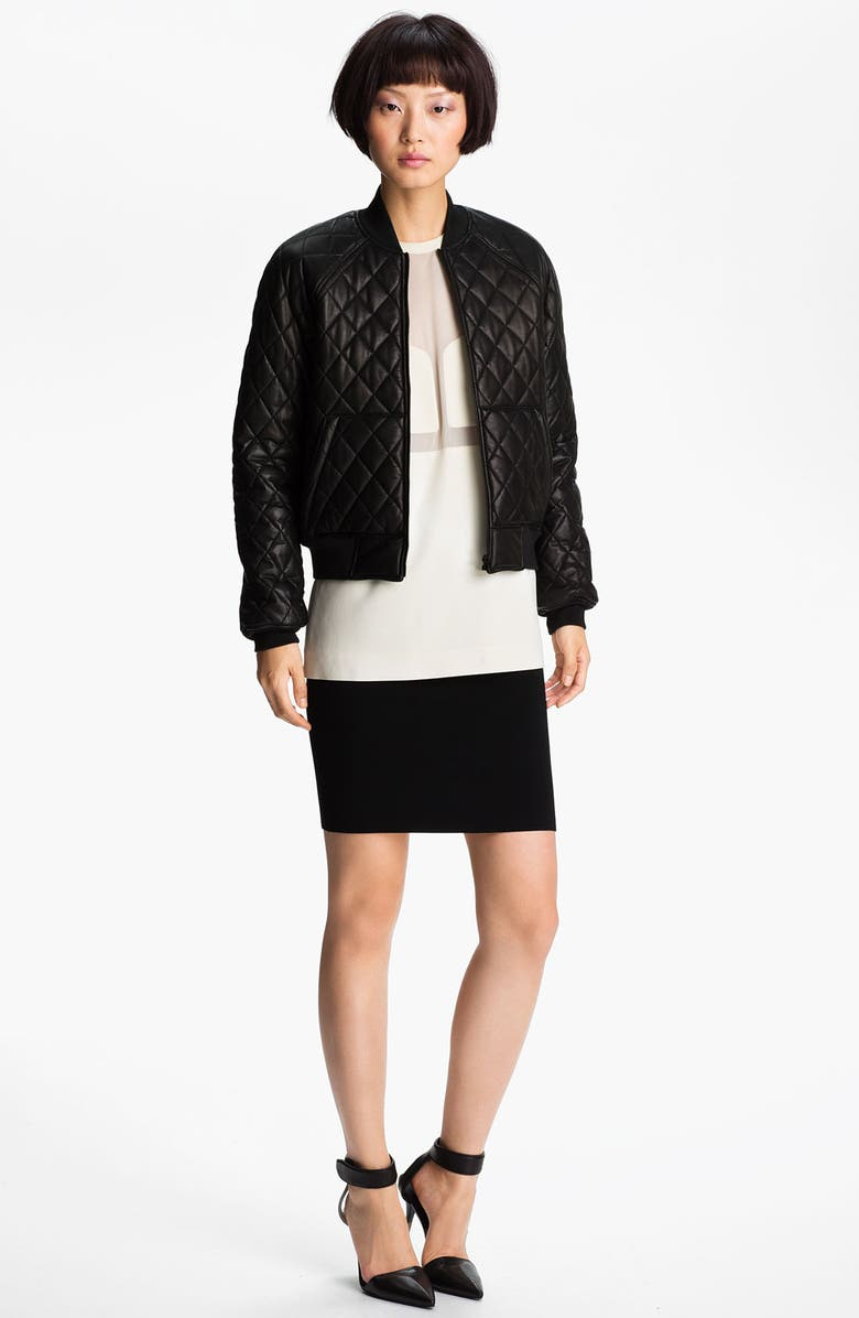 ALEXANDER WANG Quilted Leather Bomber Jacket, Main, color, 001