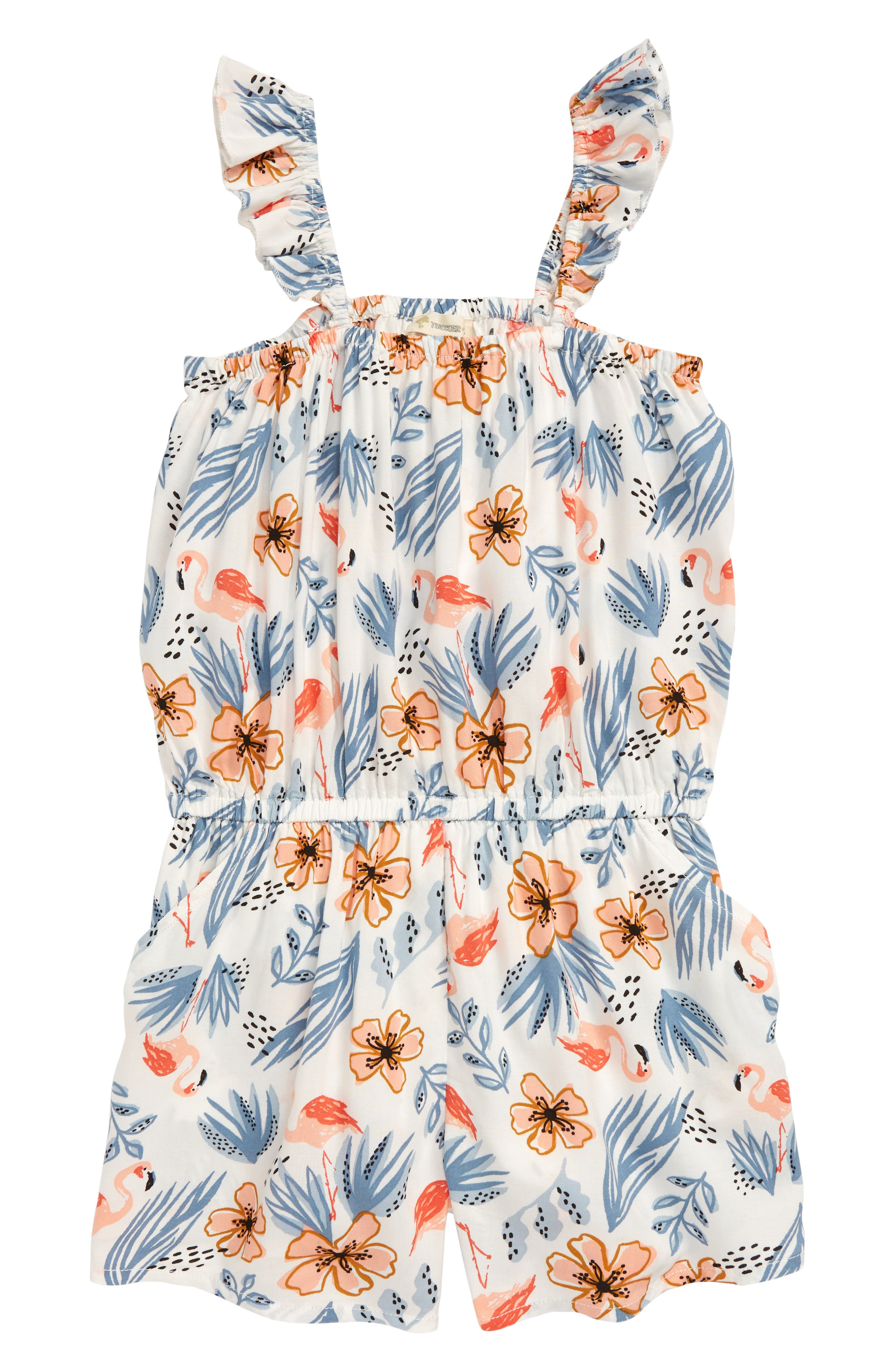 Girls Tucker  Tate Floral Print Romper Size S (78)  Ivory