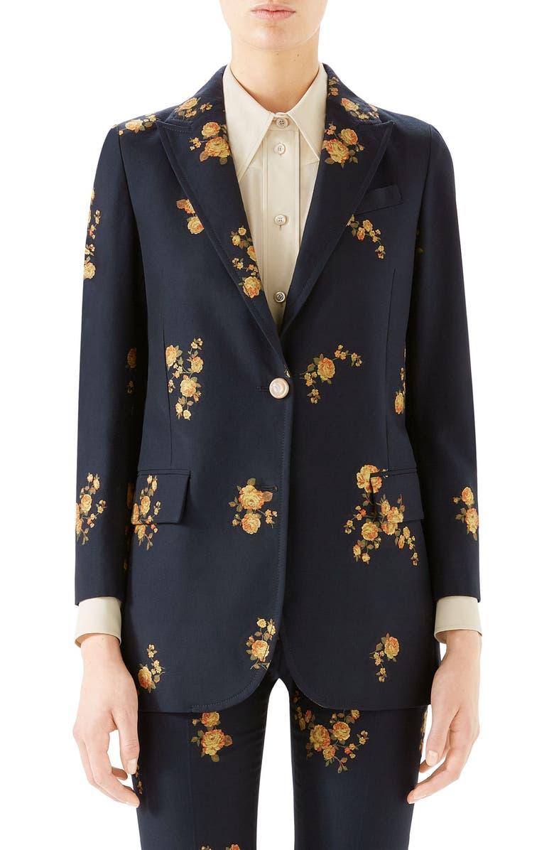 GUCCI Camellia Fil Coupé Cotton & Wool Jacket, Main, color, INK/ YELLOW