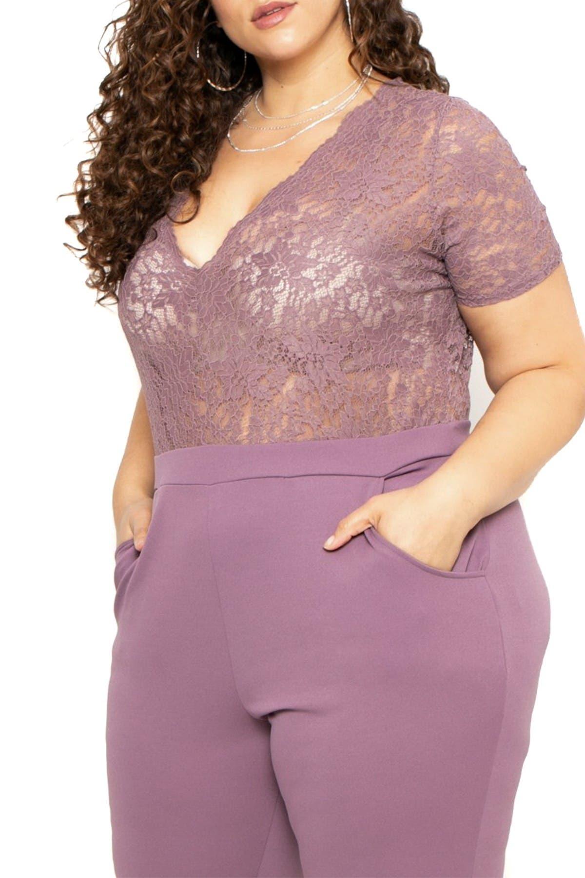 Curvy Sense Lace Top Jumpsuit