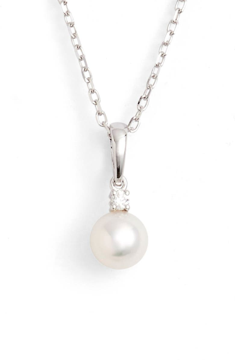 MIKIMOTO Pearl & Diamond Pendant Necklace, Main, color, WHITE GOLD