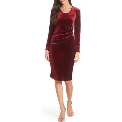 Fraiche By J Ruched Velvet Body-Con Dress, Burgundy